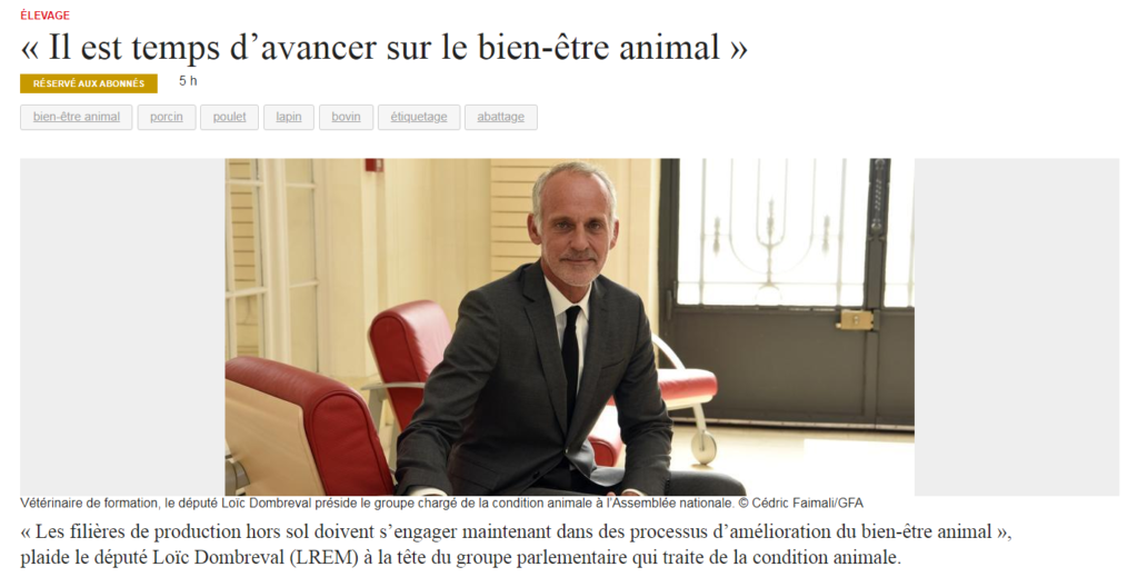Interview sur la Condition Animale dans France Agricole – Octobre 2019